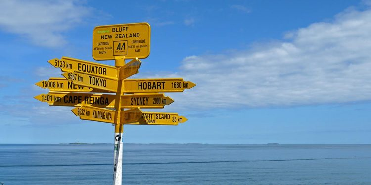The yellow signpost at Stirling Point, Bluff