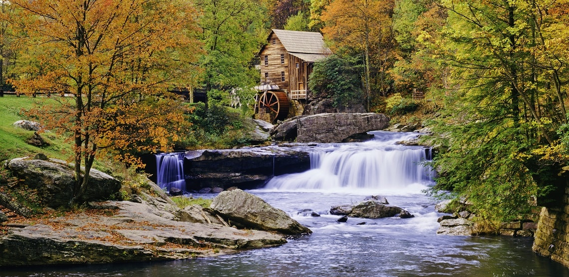 Rustic Glade Creek Mill in Babcock State Park, West Virginia