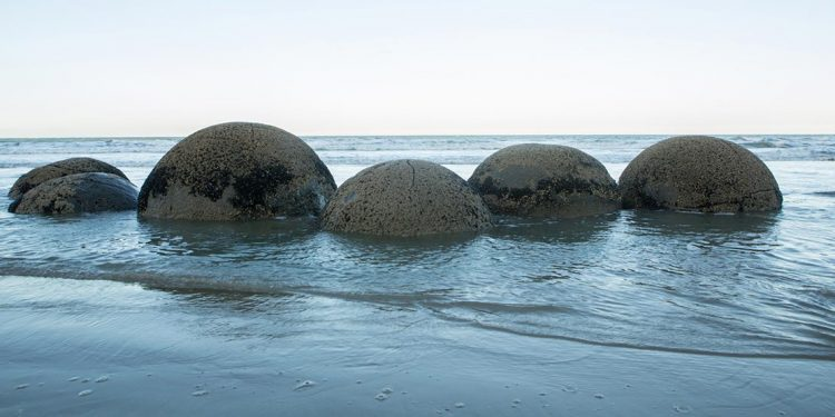 Spherical rocks in water