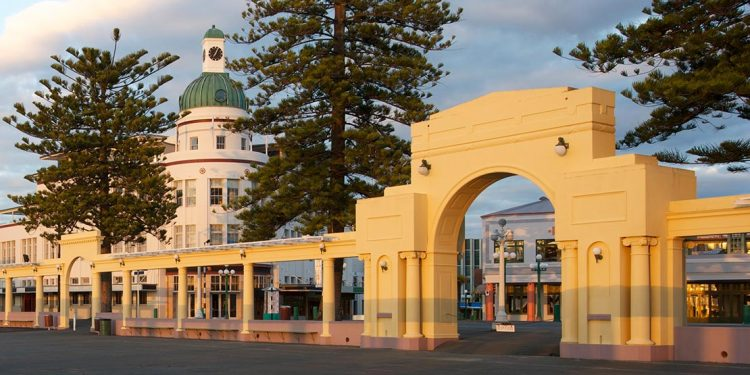 The New Napier Arch and The Dome in Napier's city center