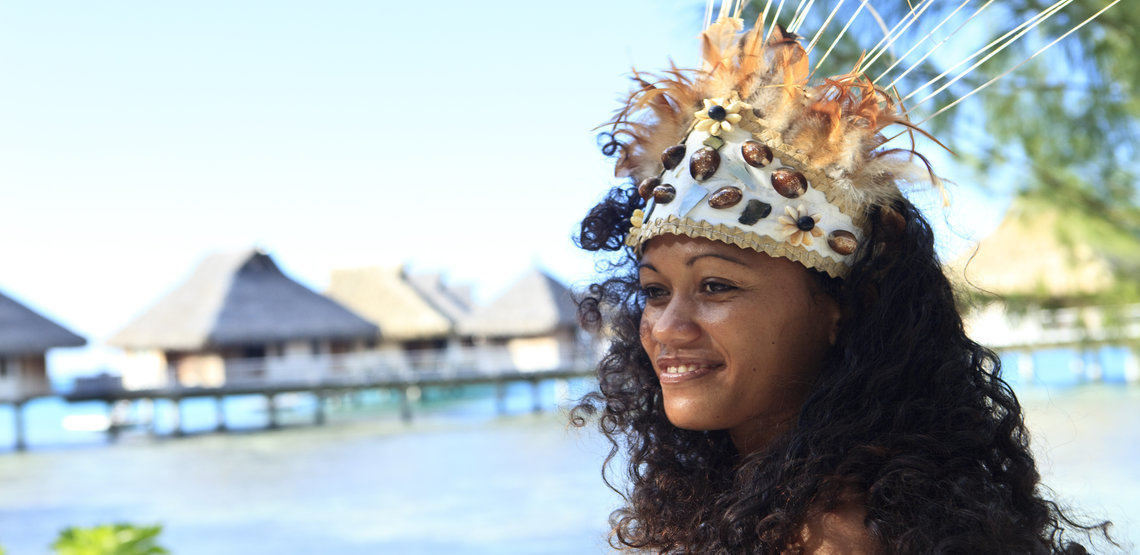 A dancer in traditional dress in Tahiti