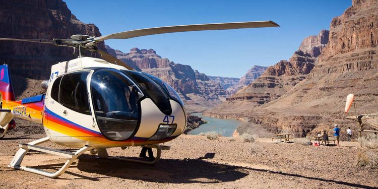 Helicopter on ground in the Grand Canyon