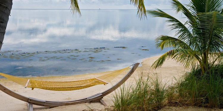 Hammock on beach on Little Palm Island