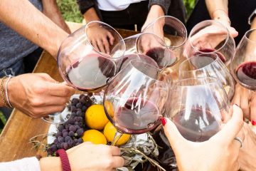 People holding wine glasses in circle.
