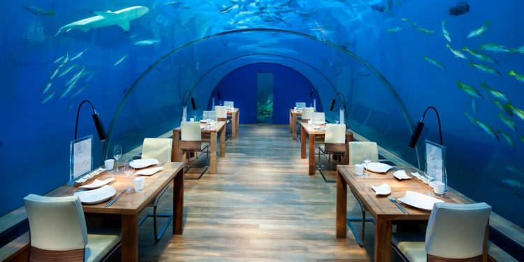 The underwater dining area at Ithaa Undersea Restaurant