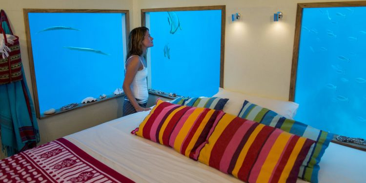 bedroom in the underwater suite at Manda Resort Pemba
