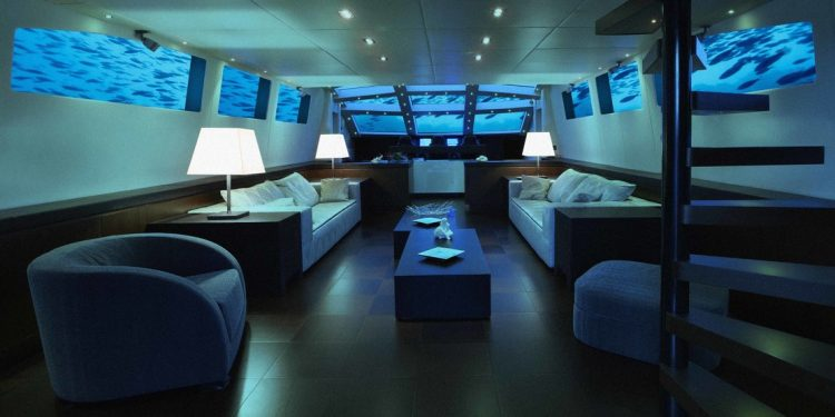 The lounge area on the lovers deep submarine