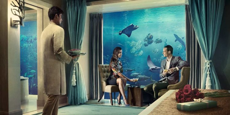 an artist's rendition of the underwater suites at Atlantis the Palm Dubai