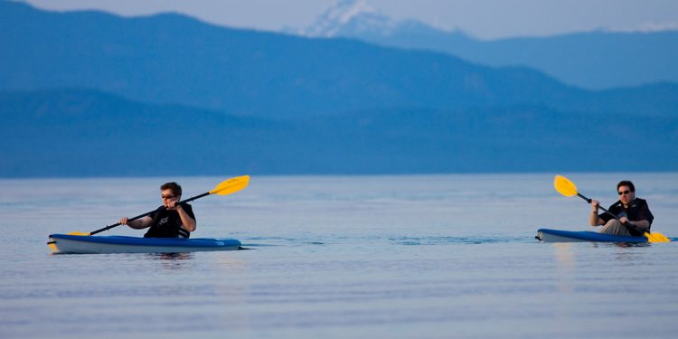 Two people kayaking of coast of Vancouver Island