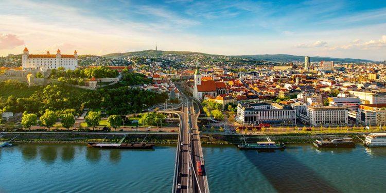 Road over river into Bratislava