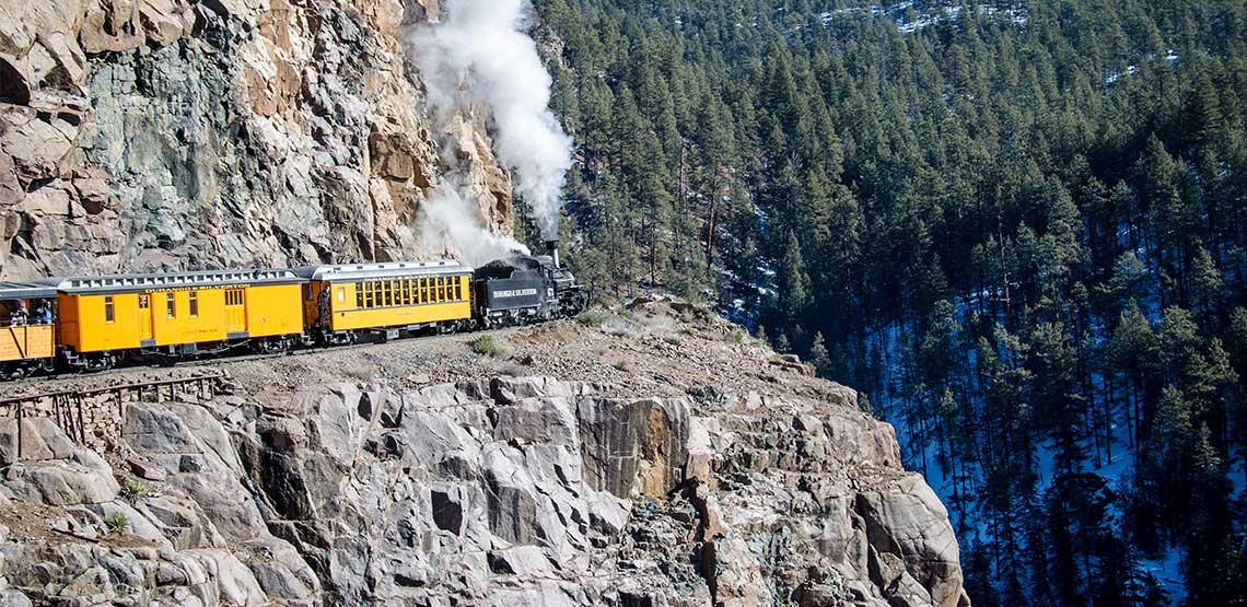 Durango and Silverton Narrow Gauge Railroad, train on a cliff face.