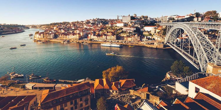 Waterway cutting through Porto, Portugal