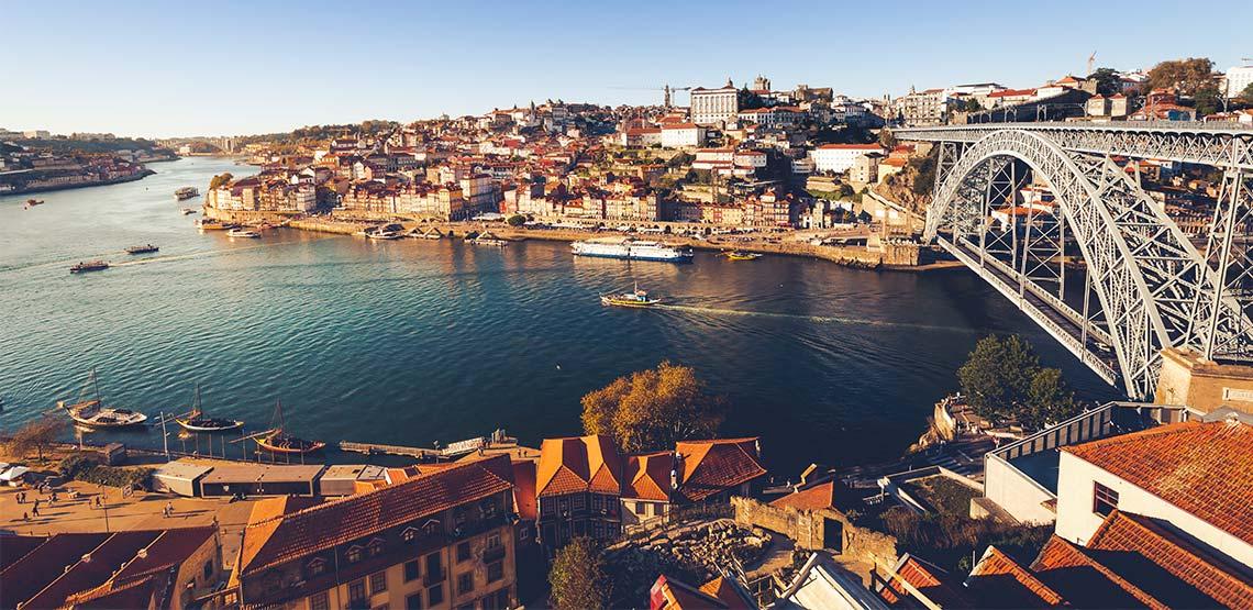 Waterway cutting through Porto, Portugal