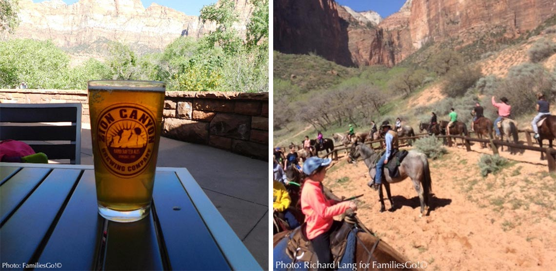 Left: glass of beer. Right: people horseback riding.