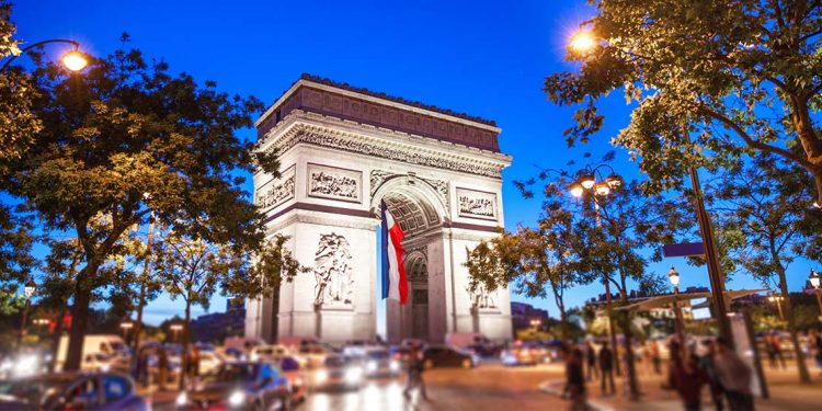Champs Elysees with France flag