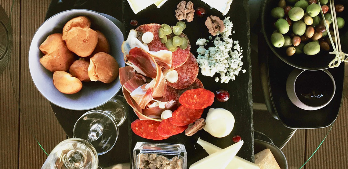 Charcuterie board at the Aria Hotel