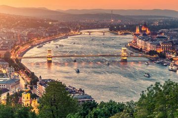 Danube river running through Budapest
