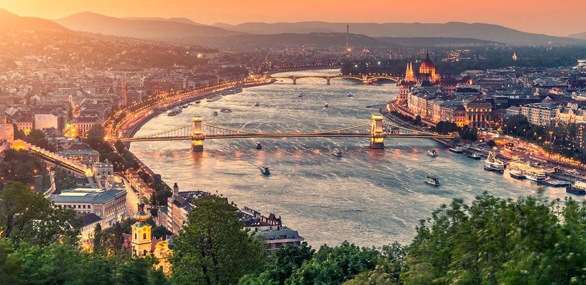 Danube river running through Budapest