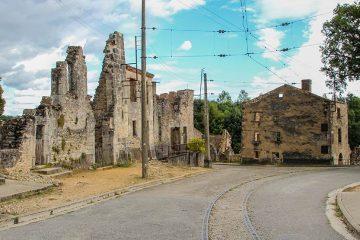 Crumbling buildings in Oradour sur Glane, France