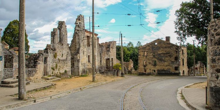 Crumbling buildings in Oradour sur Glane, France