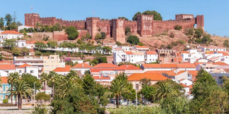 Silves castle above city with palm trees
