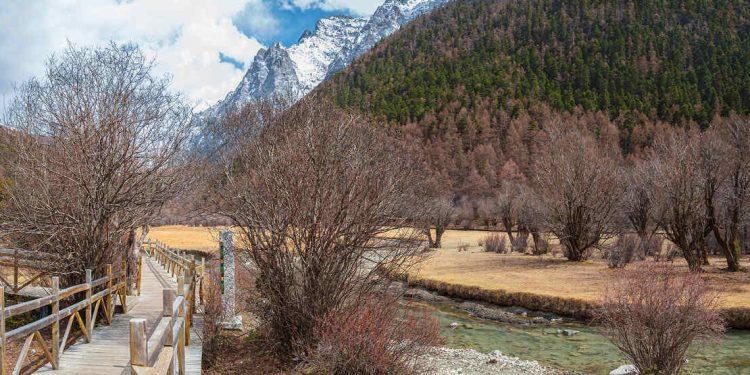 Wooden walkway along beautiful scenic mountain lake