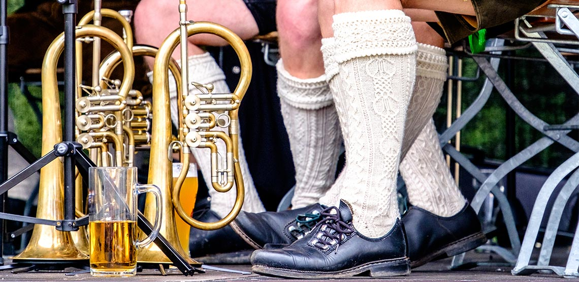 Bavarian socks, instruments and beer