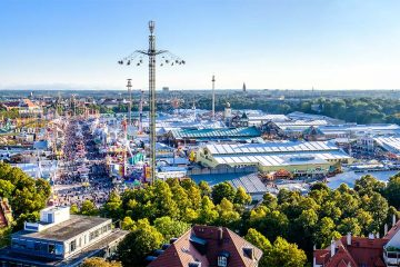 Rides and tents at Oktoberfest