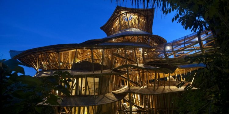 Many tiered treehouse at night
