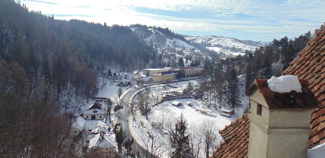 View from Bran Castle in the wintertime