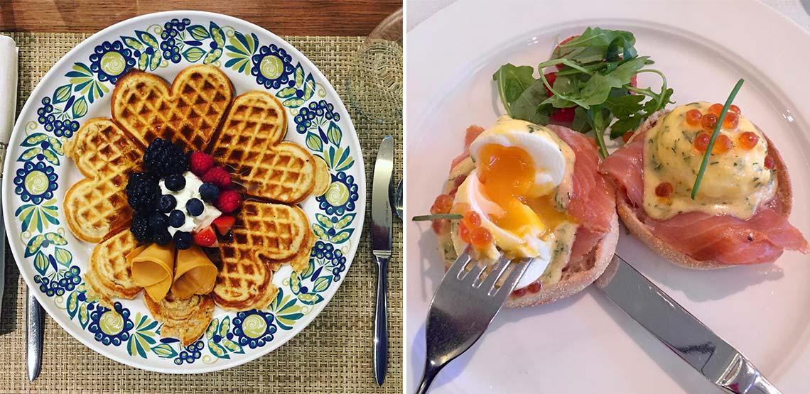 Waffle and salmon benedict