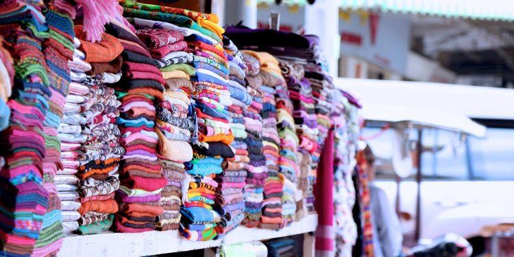 Fabrics at a market in Cambodia