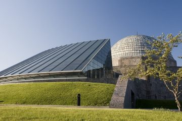 A view of Adler Planetarium in Chicago, Illinois, on a cloudless day