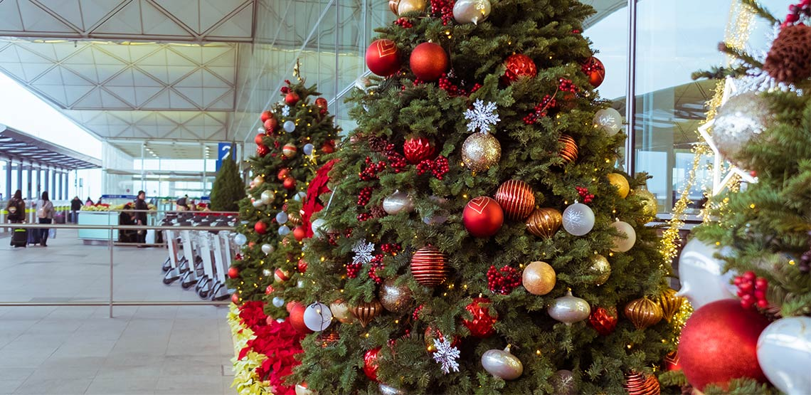Christmas trees at airport