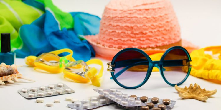 Sun glasses, pills, goggles, and other summer items