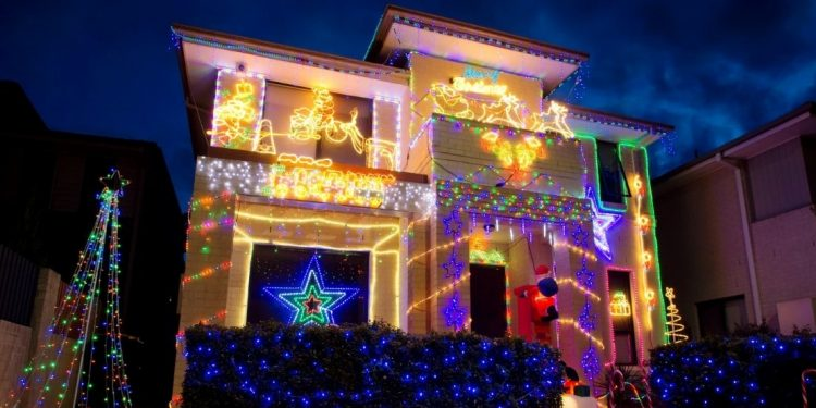 Christmas lights on a house in Australia