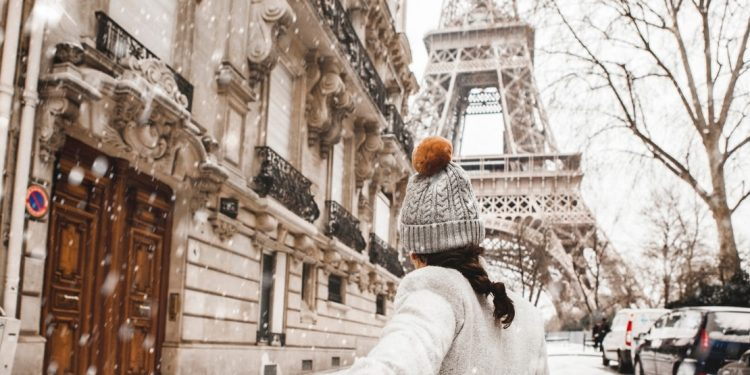 Magical snowy Christmas in Paris, France