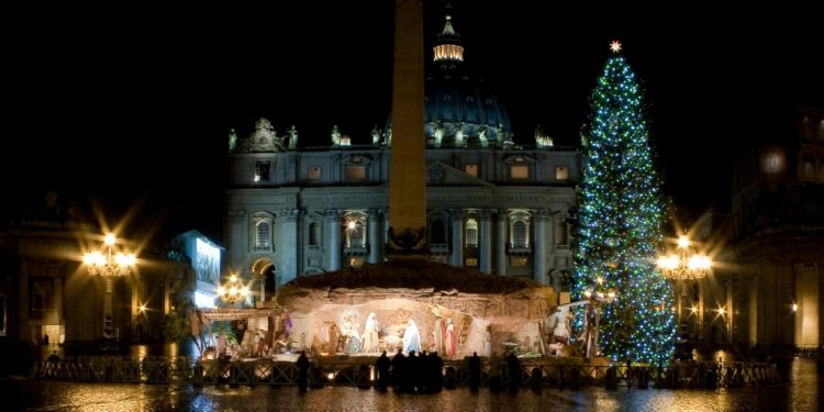 St. Peter's Basilica at Christmastime