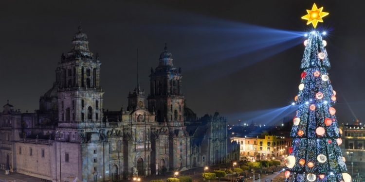Main Square of Mexico City decorated for Christmas