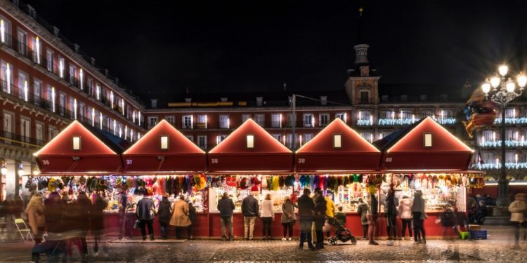Christmas lights in the Plaza Mayor of the city of Madrid