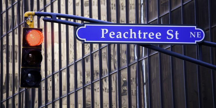 Sign for Peachtree Street in downtown Atlanta