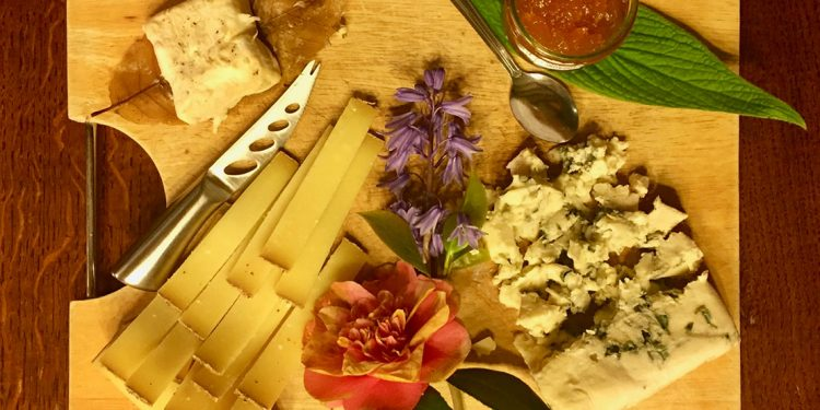 Platter with cheese