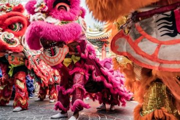 Chinese dragon dances during chinese new year.