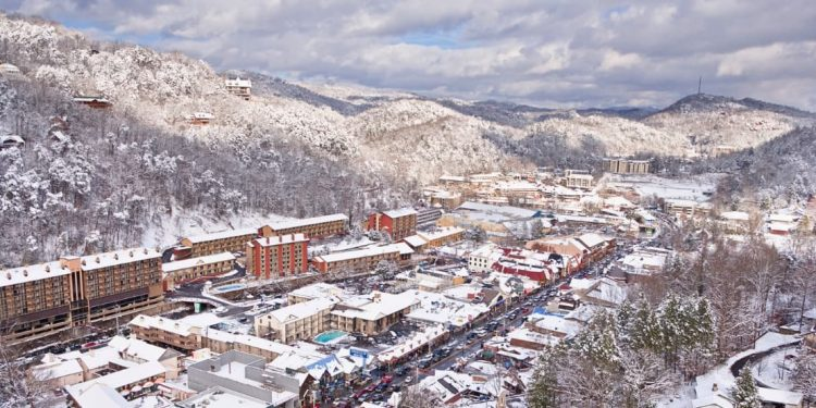 Bird's-eye view of Gatlinburg, TN