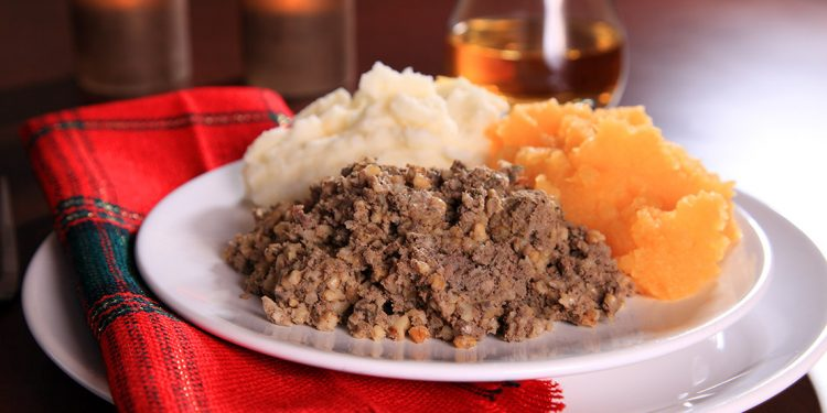 Plate of haggis, potatoes and turnips