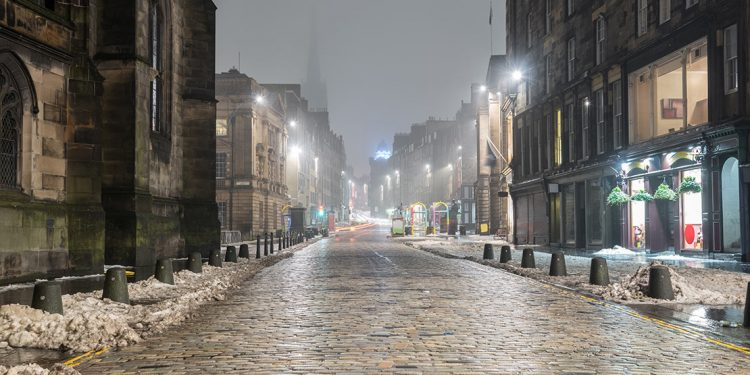 Foggy night on a street in Edinburgh