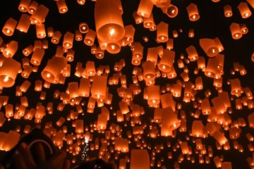 Sky lanterns being released in Northern Thailand