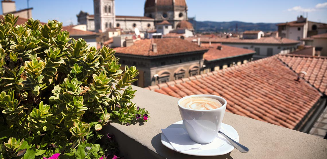 Cappuccino on a terrace in Italy