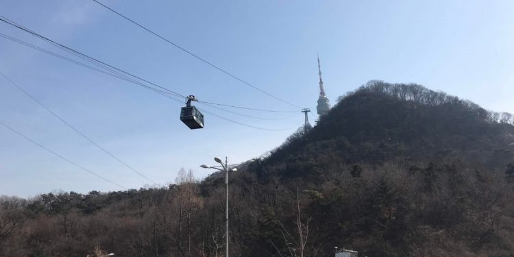 Namsan Mountain and Cable Car in Seoul, South Korea