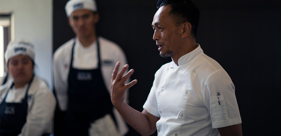 Chef speaking to a crowd